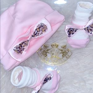 NEW Juicy Couture Hat & Socks Set: Pink & Leopard.